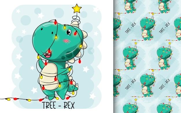 Niedliche dinosaurierkarikaturen verwandelten sich in einen weihnachtsbaum