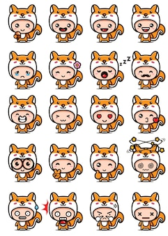 Niedliche eichhörnchen maskottchen set designs