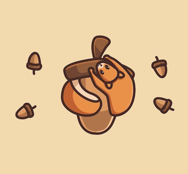 Niedliche eichhörnchen umarmen riesige nuss tier flache cartoon-stil illustration symbol premium-vektor-logo-maskottchen