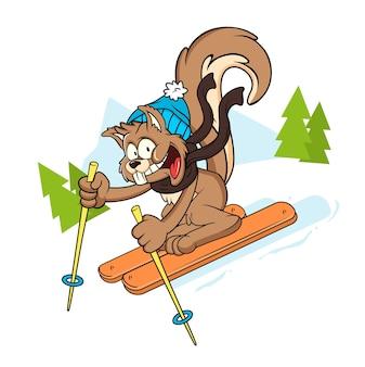 Niedliche eichhörnchen zeichentrickfigur ski winter
