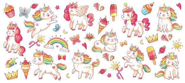 Niedliche einhörner von pony und katze. baby regenbogen pegasus und caticorn, diamant und krone, schmetterling und magie