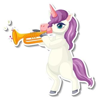Niedliche einhorn-aufkleber mit einem lila einhorn, das trompete spielt