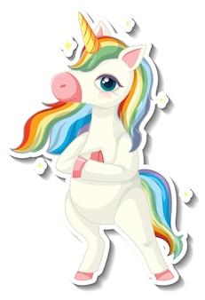 Niedliche einhorn-aufkleber mit einem regenbogen-einhorn-cartoon-charakter