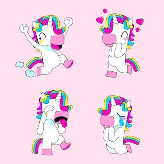 Niedliche einhorn-aufkleber-vektor-illustration, glücklich, liebe, spott und traurige einhorn-reaktion