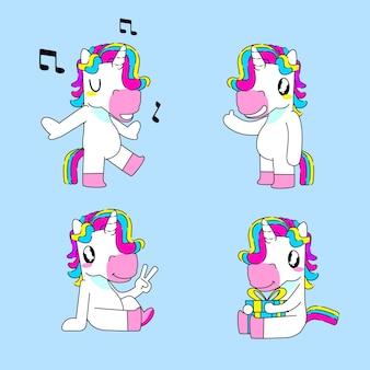 Niedliche einhorn-aufkleber-vektor-illustration, singen, hallo, frieden und geburtstags-einhorn-pose