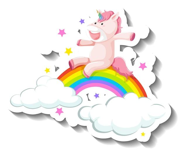 Niedliche einhorn-folie auf regenbogen-cartoon-aufkleber