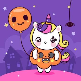 Niedliche einhorn-halloween-karikatur tragen kürbis-kostüm, das geisterballon hält