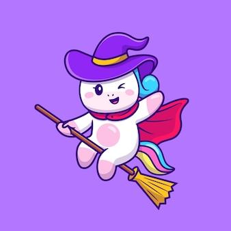 Niedliche einhornhexe, die magischen besen-karikatur reitet