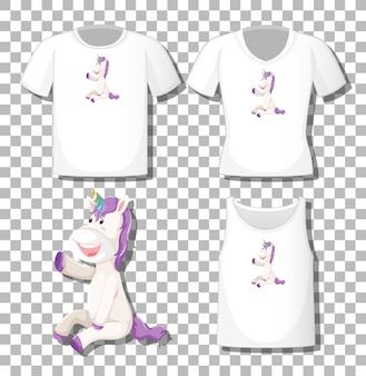 Niedliche einhornkarikaturfigur mit satz verschiedene hemden lokalisiert