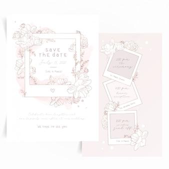 Niedliche einladungskarte mit polaroidfoto-rahmen und blumen