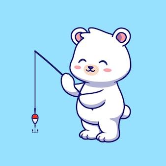Niedliche eisbärenfischen cartoon vektor icon illustration. tier natur symbol konzept isoliert premium-vektor. flacher cartoon-stil