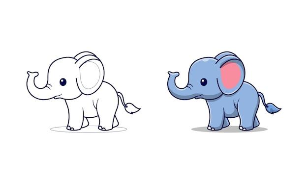 Niedliche elefantenkarikatur malvorlagen für kinder