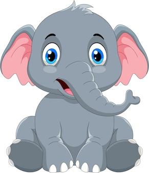Niedliche elefantenkarikatur sitzen