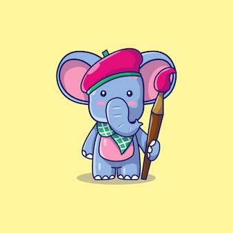 Niedliche elefantenkünstlerkarikaturillustration