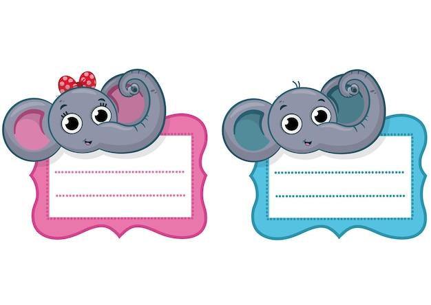 Niedliche elefantenmädchen elefantenjunge aufkleber etiketten vektor-illustration