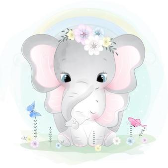 Niedliche elefantenmutter und baby