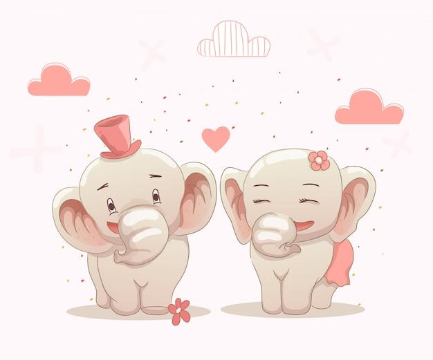 Niedliche elefantenpaare lieben sich
