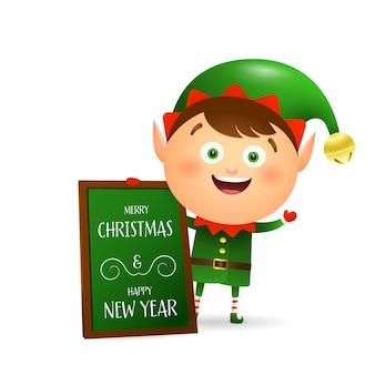 Niedliche elfe, die frohe weihnachten wünscht