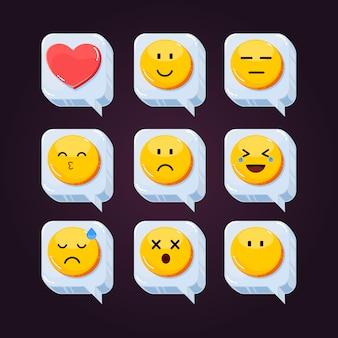 Niedliche emoji soziale netzwerksymbol reaktionen