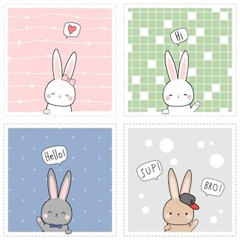 Niedliche entzückende kaninchenhäschen-cartoon-gekritzelkarte