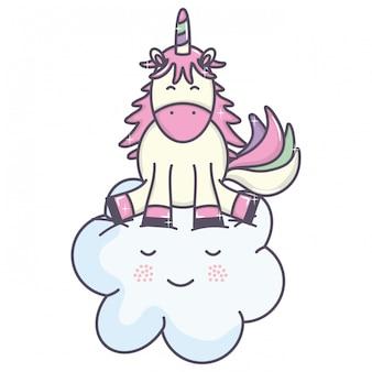 Niedliche entzückende kawaii feenhafte charaktere des einhorns und der wolke
