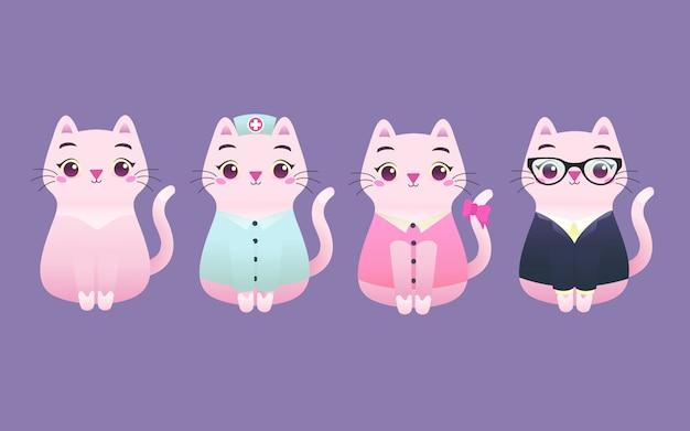 Niedliche entzückende kitty cat professional worker mascot moderne flache illustration charakter, krankenschwester, schauspielerin, sekretärin, büromädchen, lehrer
