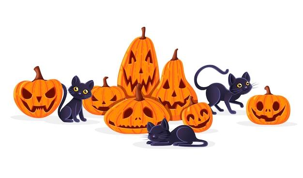 Niedliche entzückende schwarze katzen, die mit flacher vektorillustration des gruseligen furchtsamen halloween-kürbiskarikatur-tierdesigns auf weißem hintergrund spielen.