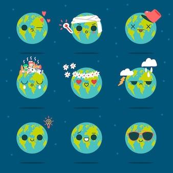 Niedliche erde vektor-zeichentrickfigur des lustigen planeten mit verschiedenen emotionen isoliert