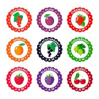 Niedliche etiketten für beerenmarmelade