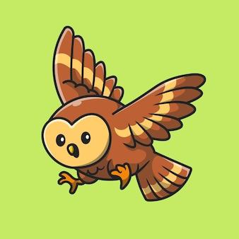 Niedliche eule, die cartoon-vektor-symbol-illustration fliegt. tier natur symbol konzept isoliert premium-vektor. flacher cartoon-stil