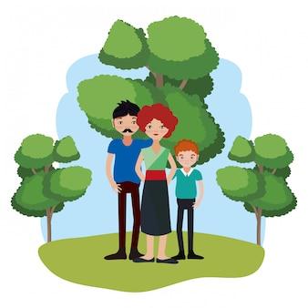 Niedliche familienkarikatur
