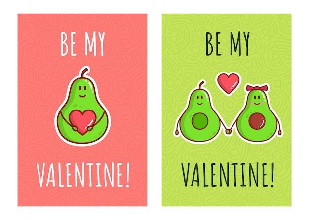 Niedliche farbe cartoon avocado paar zeichen. grußkarten zum valentinstag. avocado liebe mit herzen.