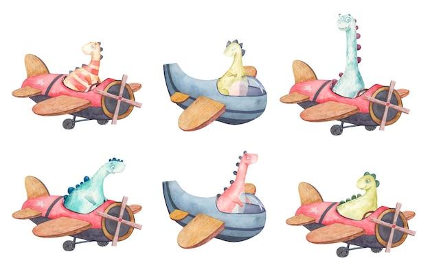 Niedliche farbige dinosaurier im flugzeug