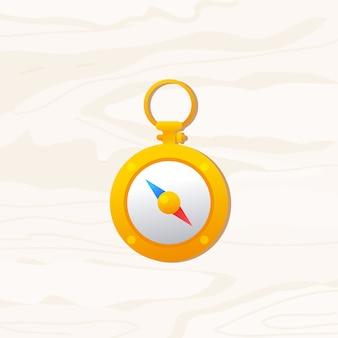 Niedliche farbverlaufillustration des goldkompasses auf holzhintergrund