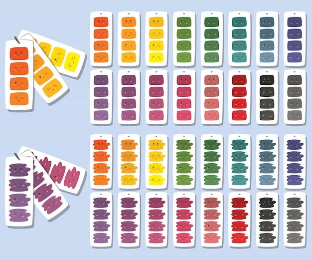 Niedliche farbwähleranhänger mit lustigen gesichtern. farbpalettensatz.