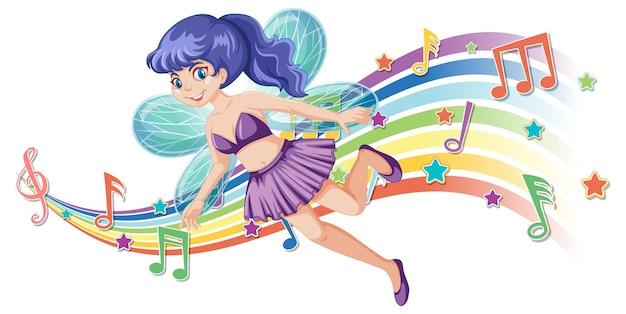 Niedliche feenhafte zeichentrickfigur mit melodie-regenbogenwelle