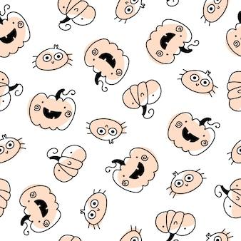 Niedliche feiertagskürbisse und nahtloses halloween-muster der spinne in der einfachen hand gezeichneten kindischen karikatur