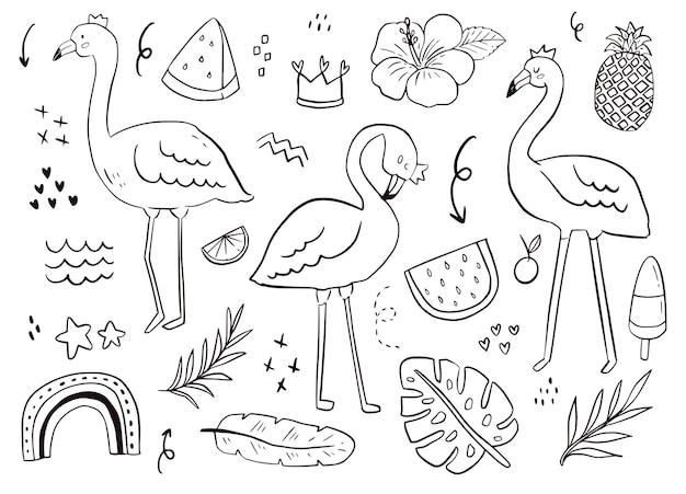 Niedliche flamingo gekritzel aufkleber umriss. sommervogel, wassermelone, tropische zeichnung weiße hintergrundillustration