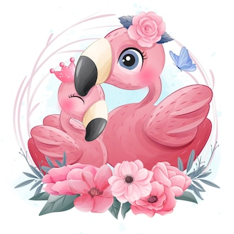 Niedliche flamingos, mutter und tochter illustration