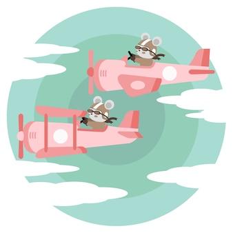 Niedliche flugzeugkarikatur-gekritzelillustration