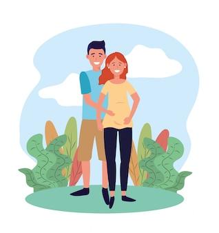 Niedliche frau und mann paar schwanger und pflanzen