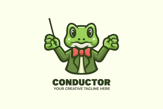 Niedliche frosch-dirigent-orchester-maskottchen-charakter-logo-vorlage