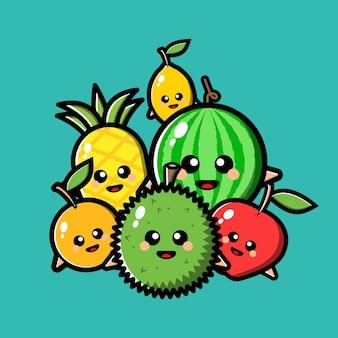 Niedliche fruchtcharakter-karikaturillustration