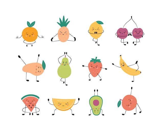 Niedliche früchte und beeren in yoga-pose. apfel, banane, birne und andere früchte praktizieren yoga und meditieren