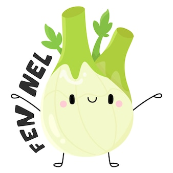 Niedliche früchte und gemüse zeichentrickfigur fenchel