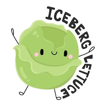 Niedliche früchte und gemüse zeichentrickfigur iceberg lettuce