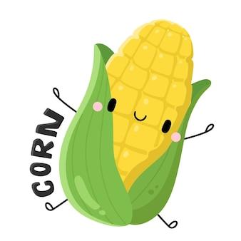 Niedliche früchte und gemüse zeichentrickfigur mais