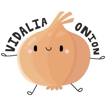 Niedliche früchte und gemüse zeichentrickfigur vidalia zwiebel