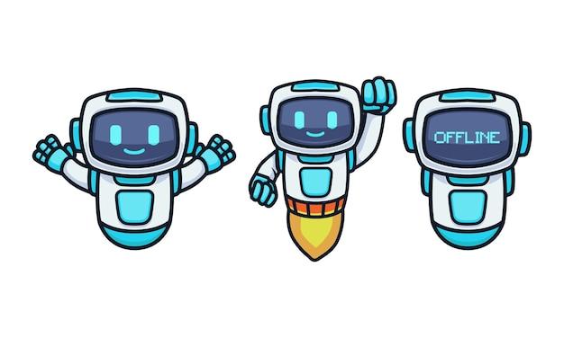 Niedliche futuristische tech-roboter-maskottchen-design-illustrations-vektor-vorlage