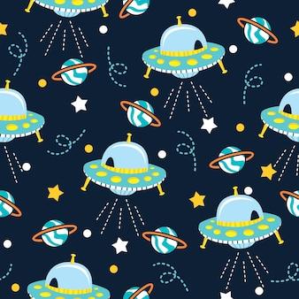 Niedliche galaxie mit ufo-muster-illustrationen